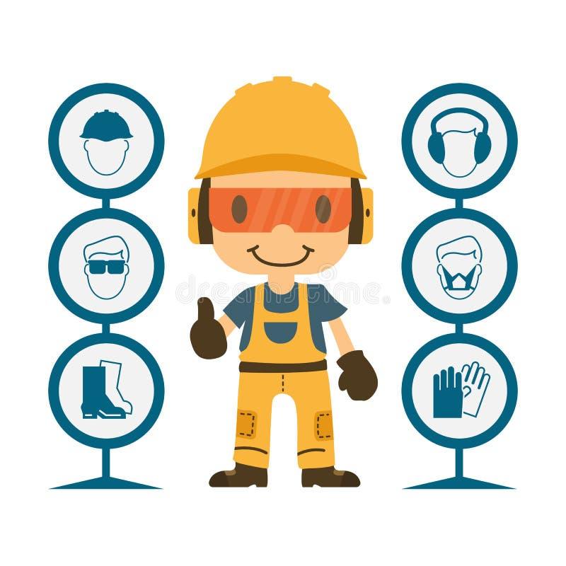 Saúde e segurança da construção ilustração royalty free