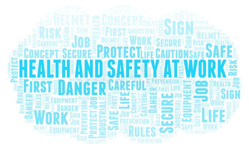 Saúde e segurança na nuvem da palavra do trabalho ilustração do vetor