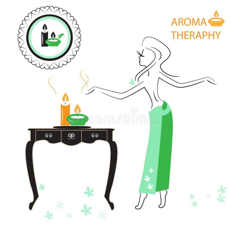 Saúde e termas: Menina que aprecia a aromaterapia ilustração stock