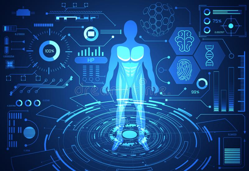 Saúde humana dos dados do conceito abstrato da ciência da tecnologia digital: ilustração do vetor