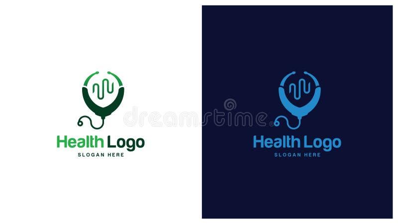 Saúde Logo Design Concept, tipos diferentes de logotipos da saúde, Logo Design Vetora simples ilustração do vetor