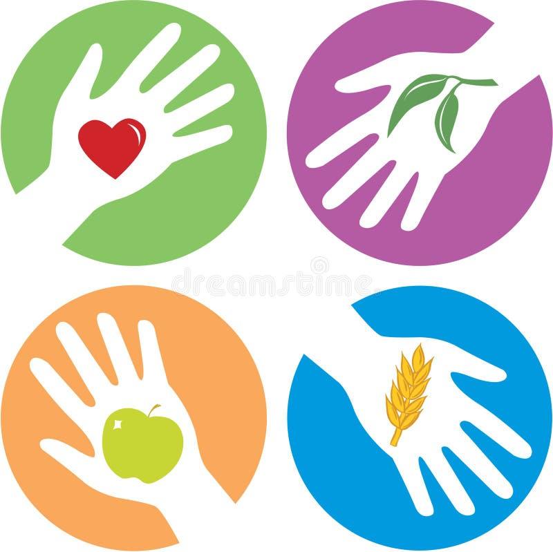 Saúde - mãos amiga relacionadas ilustração stock