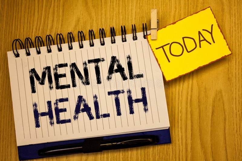 Saúde mental do texto da escrita da palavra Conceito do negócio para o bem estar psicológico e emocional da circunstância de uma  imagem de stock royalty free