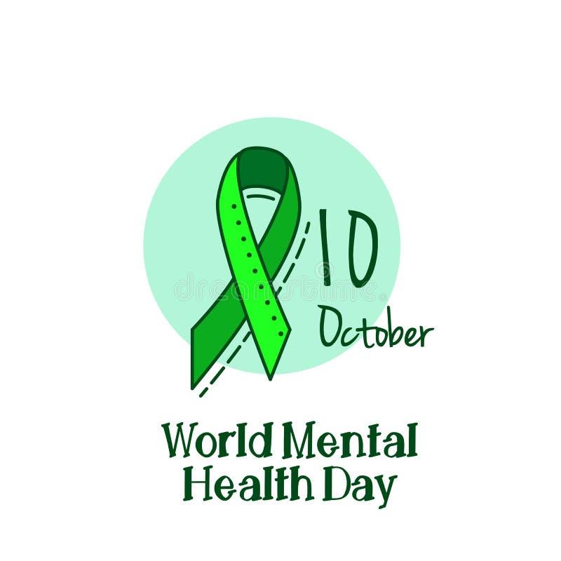Saúde mental, hepatite B e câncer do fígado ou fundo da fita do verde da conscientização do linfoma Non-Hodgkin ilustração do vetor