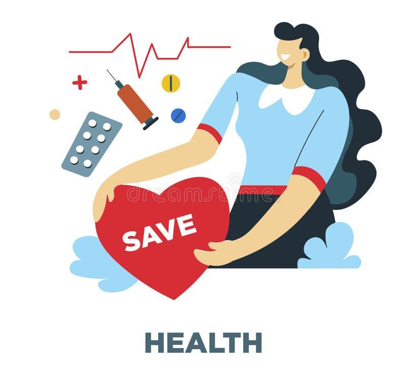 Saúde, necessidades humanas e frequência cardíaca, seguro médico ilustração do vetor