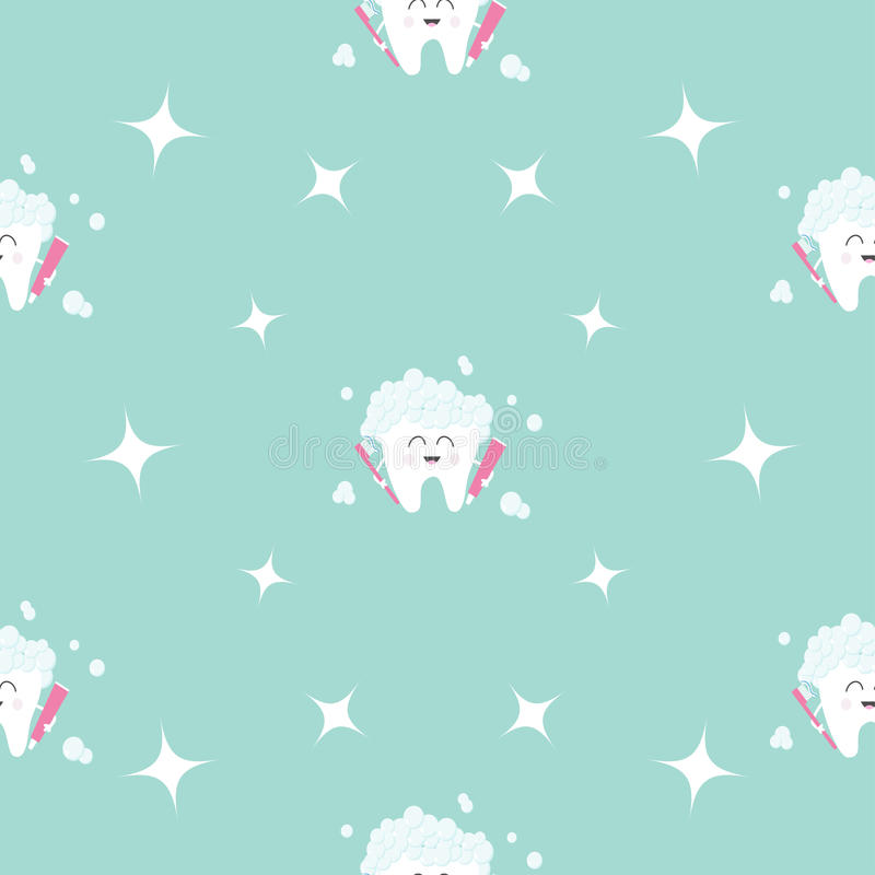 Saúde sem emenda do dente da pasta da escova do teste padrão Estrela da faísca Caráter de sorriso dos desenhos animados engraçado ilustração royalty free