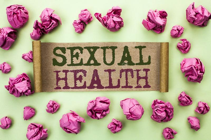 Saúde sexual do texto da escrita da palavra Conceito do negócio para o cuidado saudável do sexo dos hábitos da proteção do uso da imagens de stock