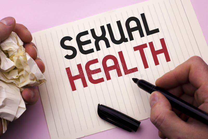 Saúde sexual do texto da escrita da palavra Conceito do negócio para o cuidado saudável do sexo dos hábitos da proteção do uso da fotografia de stock royalty free