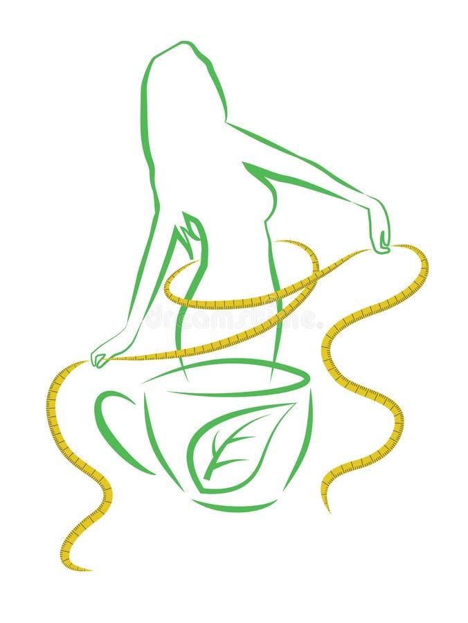 Chá para a perda de peso. Ilustração do vetor. ilustração royalty free