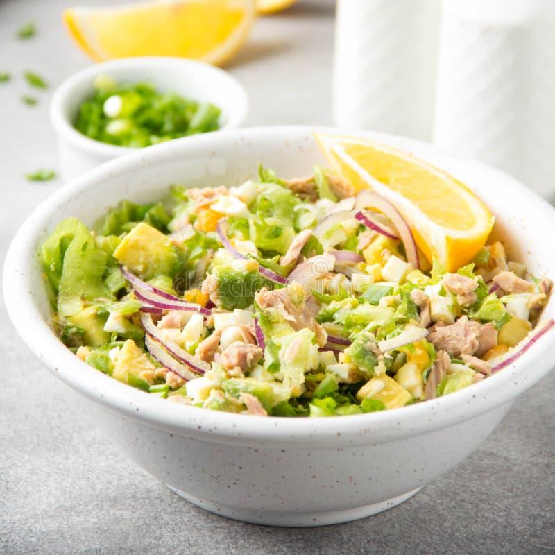 Sałatka z tuńczykiem, avocado, cebulą, jajkiem i cytryną, Wiosna zdrowy wyśmienicie lunch na lekkim tle fotografia royalty free