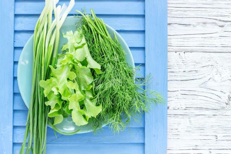 Sałatkowa koperkowa cebula na błękitnej drewnianej desce zdrowe jeść zdjęcia stock
