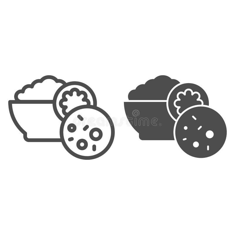 Sałatkowa olivier linia i glif ikona Rosyjskiej kuchni wektorowa ilustracja odizolowywająca na bielu Talerz karmowy konturu styl royalty ilustracja