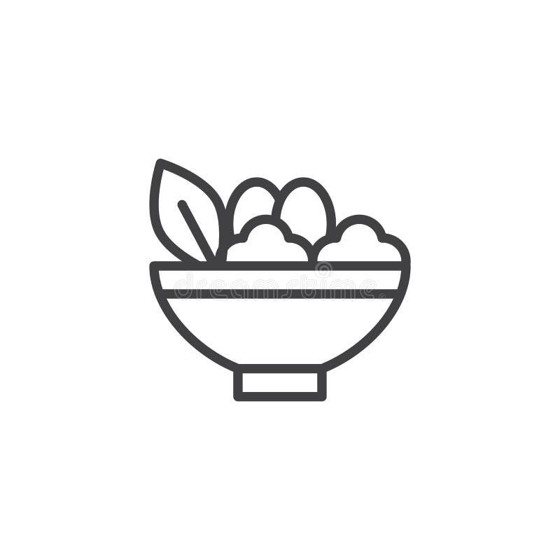 Sałatkowego pucharu konturu ikona ilustracji