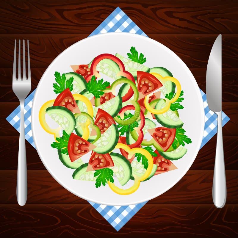 Sałatkowej diety pomidorowa ogórkowa papryka ilustracji
