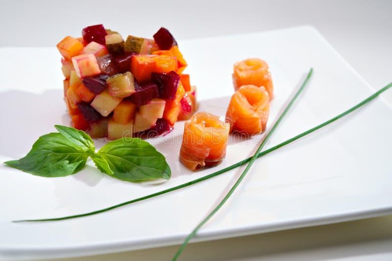sałatkowy łososiowy vinaigrette obrazy stock