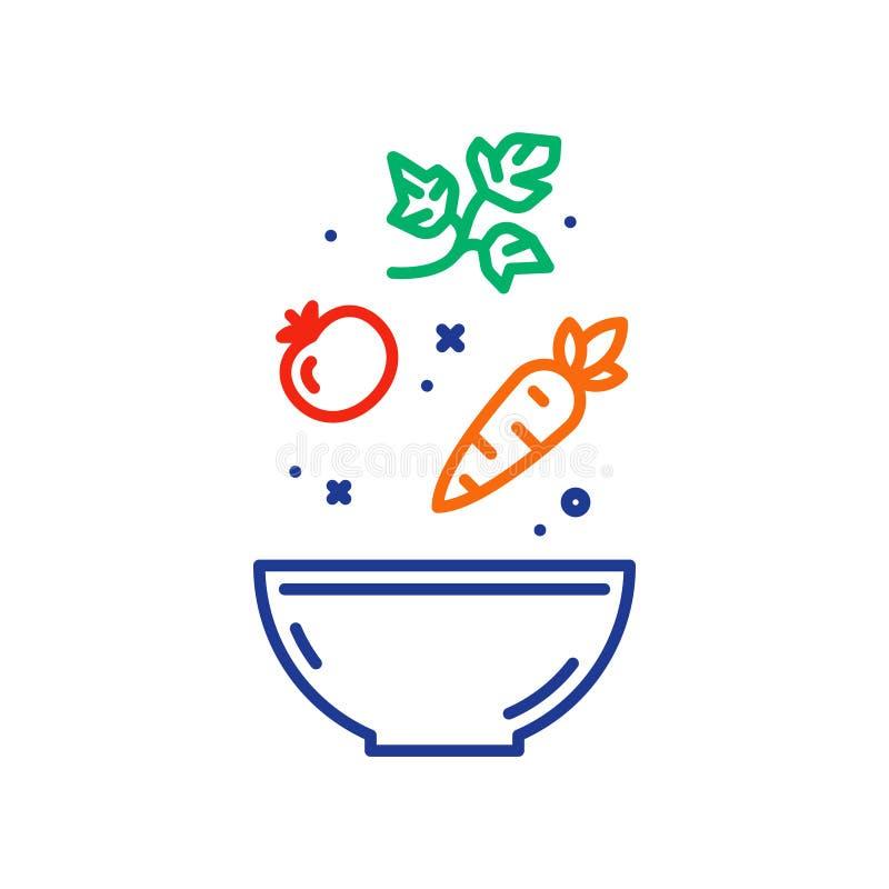 Sałatkowy przepis, świezi warzywa, zdrowy łasowanie, wektorowa ikona royalty ilustracja