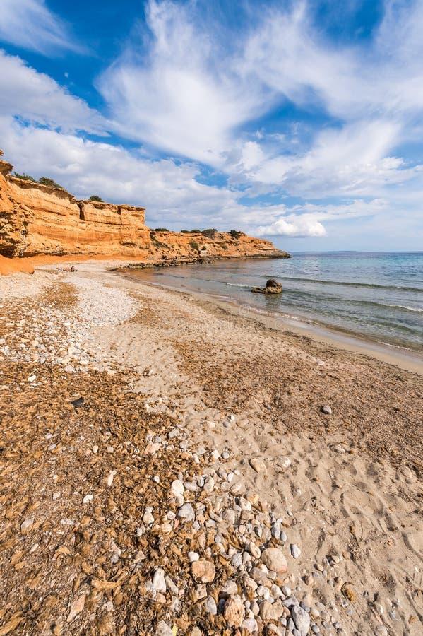 Sa Caleta海滩在Ibiza 库存图片