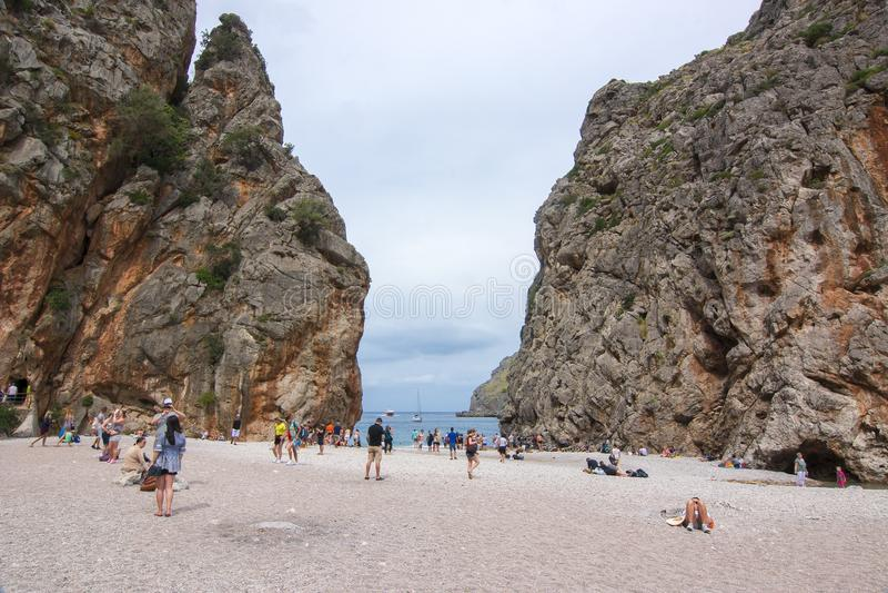 Sa Calobra plaża, Balearic wyspy, Mallorca, Hiszpania obrazy royalty free