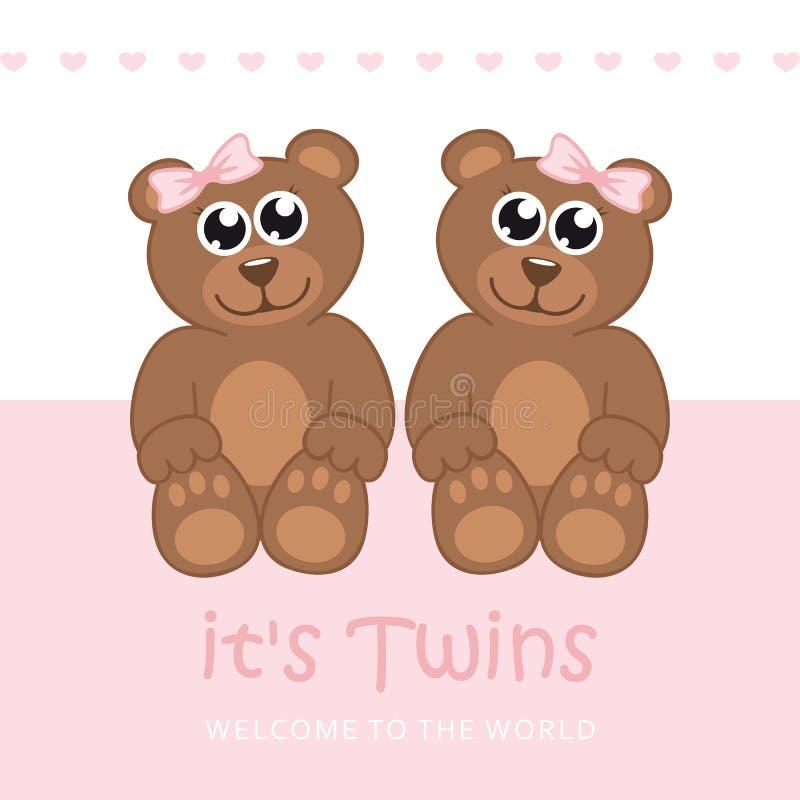 Sa carte de voeux d'accueil de fille de jumeaux pour l'accouchement avec l'ours de nounours illustration de vecteur