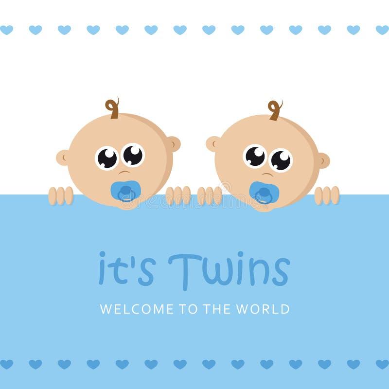 Sa carte de voeux d'accueil de garçon de jumeaux pour l'accouchement avec le visage de bébé illustration libre de droits