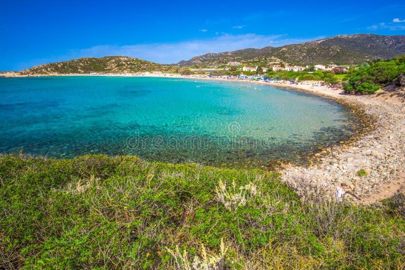 Sa Colonia plaża, Chia kurort, Sardinia, Włochy zdjęcie stock