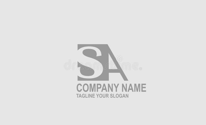 SA, conception de vecteur de logo de lettre de S + d'A illustration libre de droits