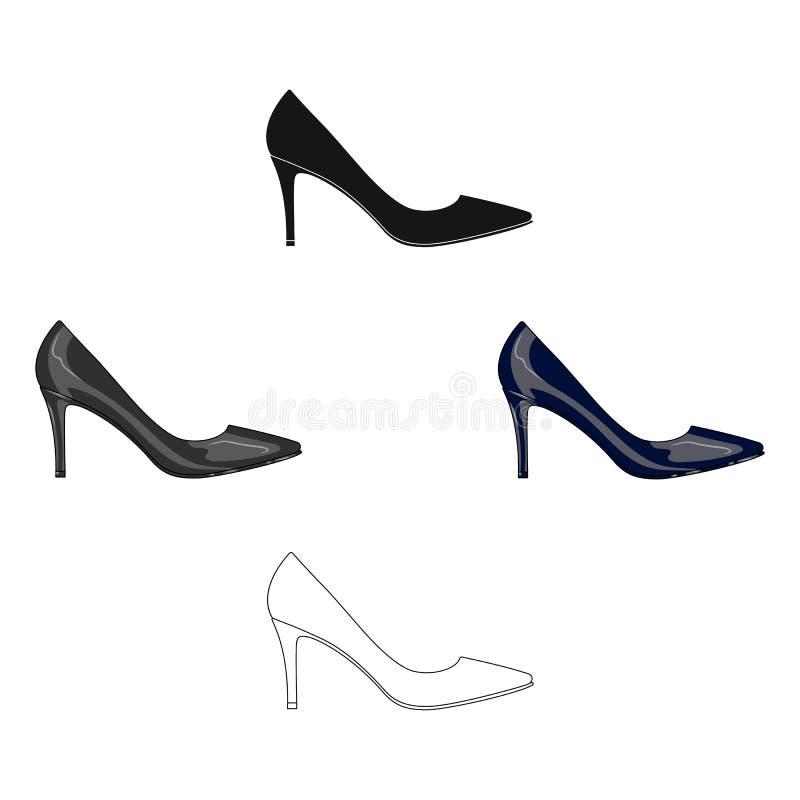 Sa?da das sapatas highheeled das mulheres negras em um vestido As sapatas diferentes escolhem o ?cone nos desenhos animados, esto ilustração stock