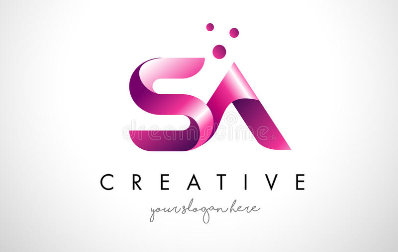 SA Letter Logo Design with Purple Colors and Dots stock illustration