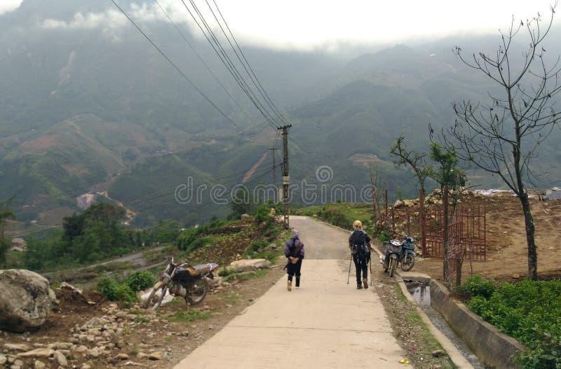 Trekking In Sa Pa Village Vietnam. Sa Pa, Vietnam - April 28, 2018 : One Day Trekking In Sa Pa Village Vietnam stock photo