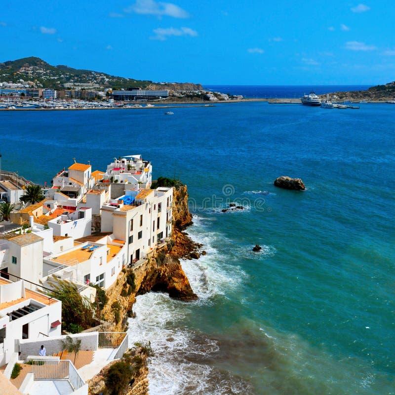 Sa Penya District in Ibiza Town, Balearic Islands, Spain. View of Sa Penya District in Ibiza Town, Balearic Islands, Spain stock photo