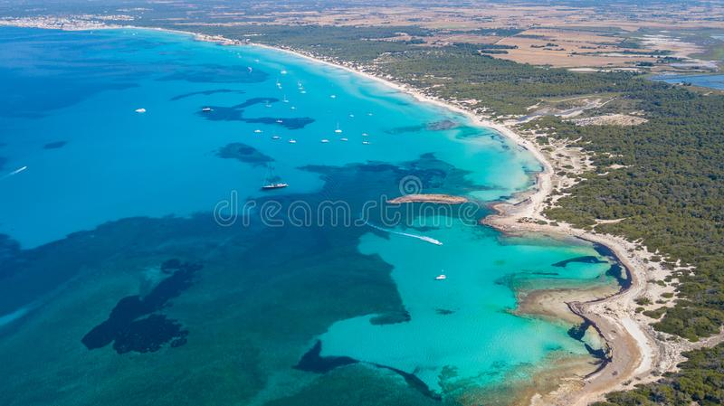 Sa Rapita, Mallorca Spain. Amazing drone aerial landscape of the charming Es Rapita and Es trenc beaches and turquoise sea royalty free stock images