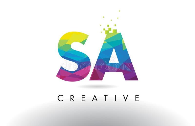 SA S красочный вектор дизайна треугольников Origami письма иллюстрация штока