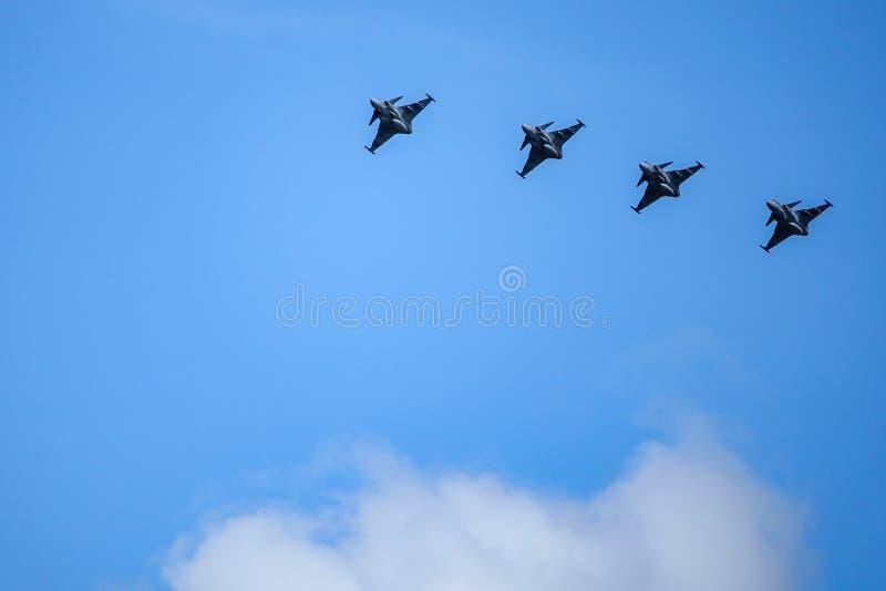 Saab JAS 39 Gripen, combatiente multiusos, vuelo de la formación fotografía de archivo libre de regalías
