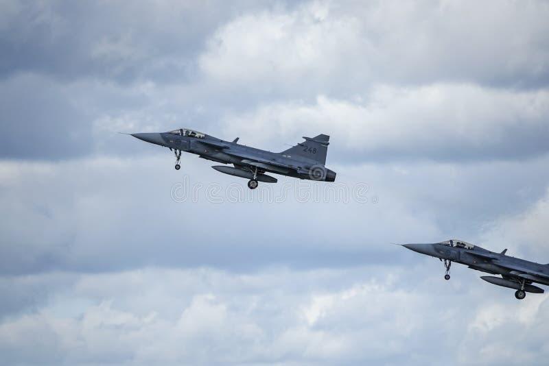Saab JAS 39 Gripen, los aviones de combate multiusos saca fotografía de archivo