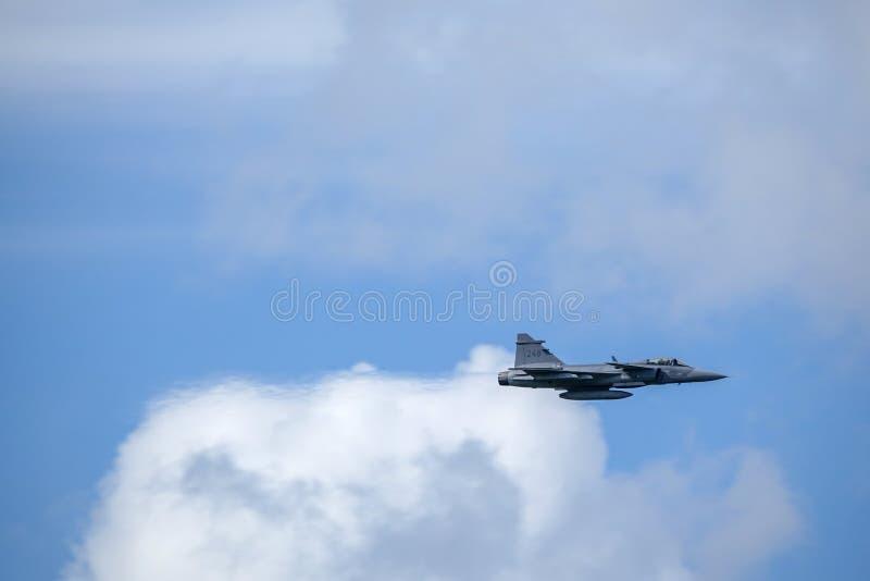 Saab JAS 39 Gripen, multirole kämpe Svenskt flygvapen royaltyfria foton