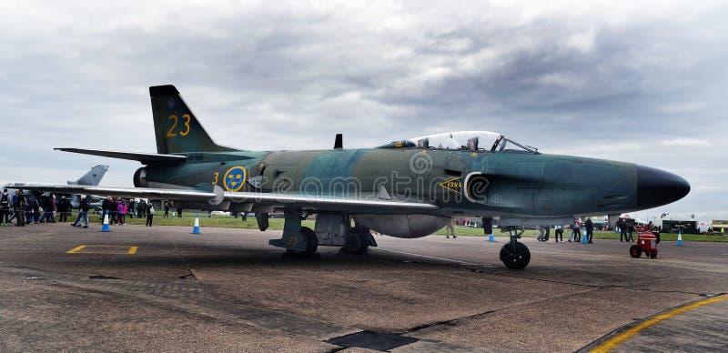 SAAB Lansen no festival aéreo de Scampton o 10 de setembro de 2017 Base ativa do Royal Air Force de Lincolnshire imagens de stock royalty free