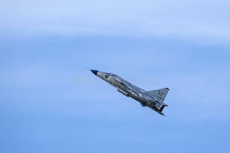 SAAB 37 Viggen Avion de combat, avion de chasse image stock
