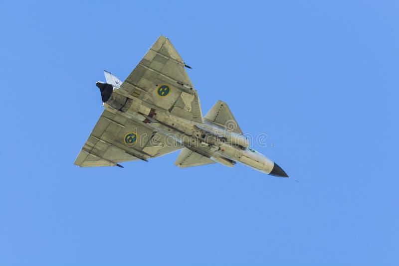 SAAB 37 Viggen-de onderkant van vechtersvliegtuigen stock fotografie