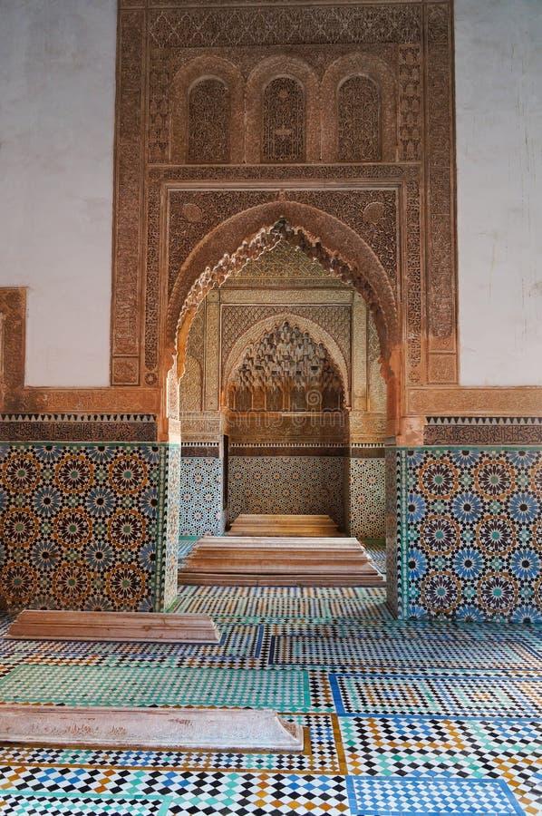 Saadian坟茔陵墓在马拉喀什 免版税库存图片