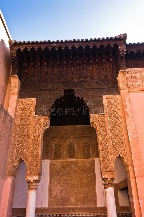 The Saadian tombs mausoleum in Marrakech built by sultan Ahmad al-Mansur in Morocco royalty free stock photos