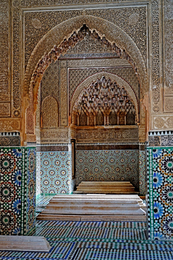 The Sadiane Tombs in Marrakesh. The Saadian Tombs are the mausoleum of the Saadian Dynasty, Marrakesh, Morocco.The tombs date back to Sultan Ahmad al-Mansur al stock photography