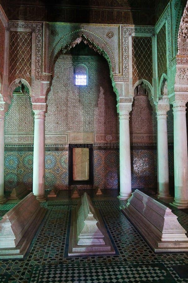 Saadiens坟茔在马拉喀什,摩洛哥。 免版税库存图片
