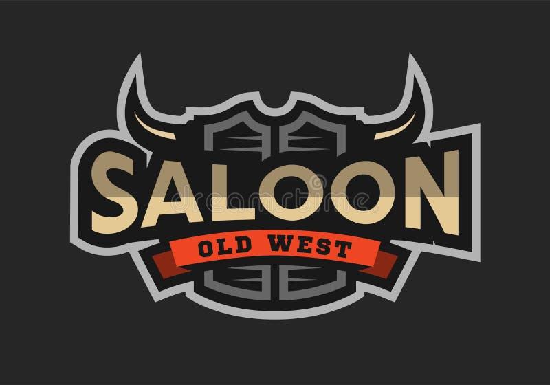 Saal, Taverne, wildes Westlogo, Emblem stock abbildung