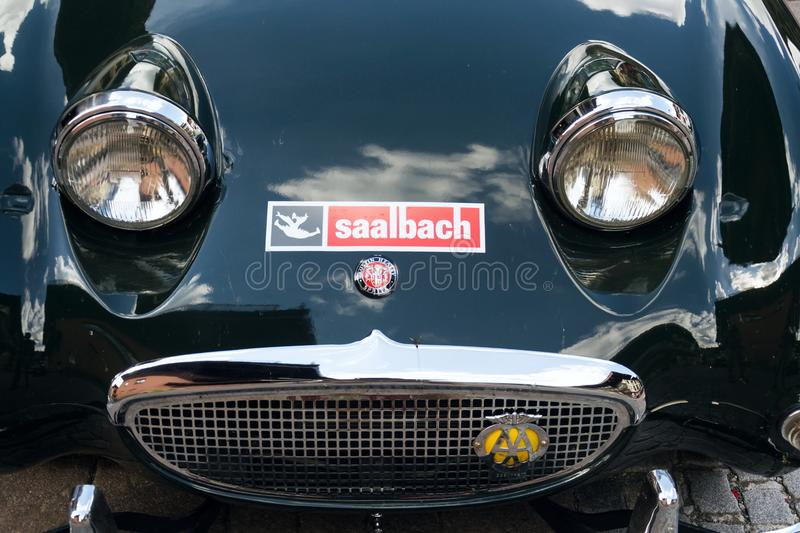 Vintage car Austin Healey Sprite roadster oldsmobile veteran produced from 1958 to 1971. SAALBACH-HINTERGLEMM, AUSTRIA - JUNE 21 2018: Vintage car Austin Healey royalty free stock photography