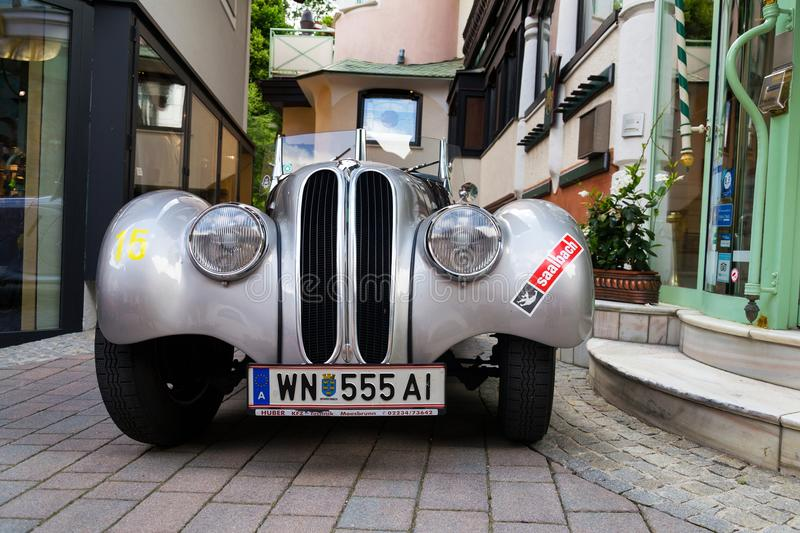 Vintage car BMW 328 roadster oldsmobile veteran produced from 1936 to 1940. SAALBACH-HINTERGLEMM, AUSTRIA - JUNE 21 2018: Vintage car BMW 328 roadster oldsmobile royalty free stock photos