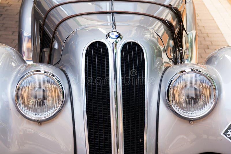Vintage car BMW 328 roadster oldsmobile veteran produced from 1936 to 1940. SAALBACH-HINTERGLEMM, AUSTRIA - JUNE 21 2018: Vintage car BMW 328 roadster oldsmobile stock photos