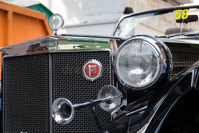 Vintage car Clenet oldsmobile veteran roadster. SAALBACH-HINTERGLEMM, AUSTRIA - JUNE 21 2018: Vintage car Clenet oldsmobile veteran roadster produced in 1970s royalty free stock photo