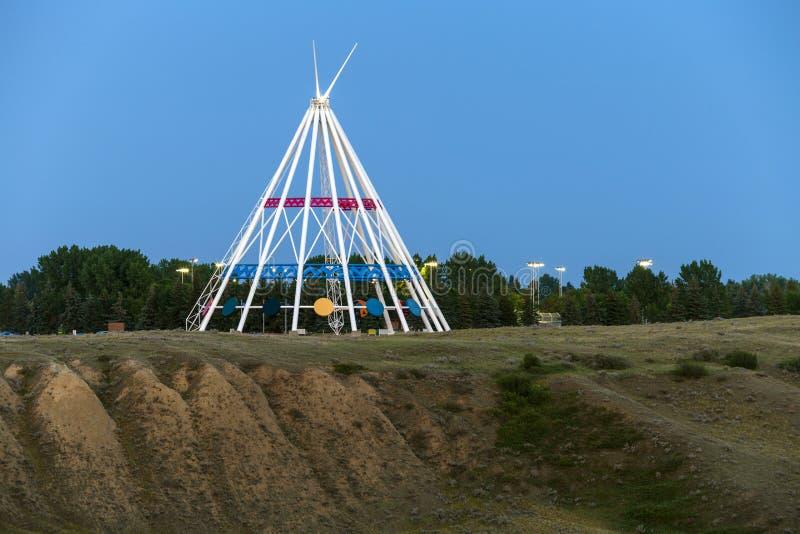 Saamis圆锥形帐蓬梅迪辛哈特阿尔伯塔 库存照片