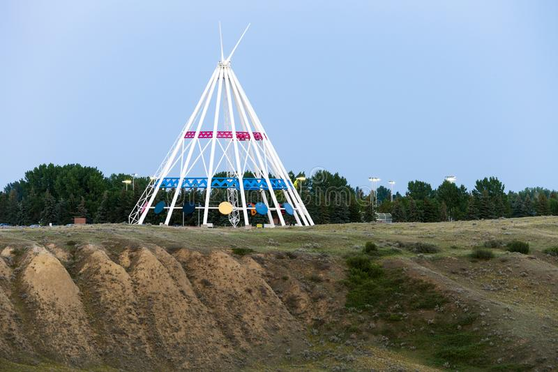 Saamis Tepee Medicine Hat Alberta. Medicine Hat, Alberta, Canada - July 9, 2019: Medicine Hat's most visible landmark is the Saamis Tepee! Originally stock photos