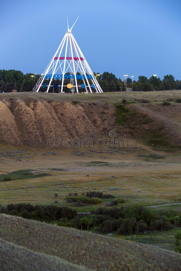 Saamis Tepee Medicine Hat Alberta. Medicine Hat, Alberta, Canada - July 9, 2019: Medicine Hat's most visible landmark is the Saamis Tepee! Originally royalty free stock photos